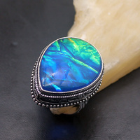 Fabulous Ladies 925 Sterling Silver Natural Blue Dichroic Glass Romantic Band Ring Size 9 NY1039 Free Shipping