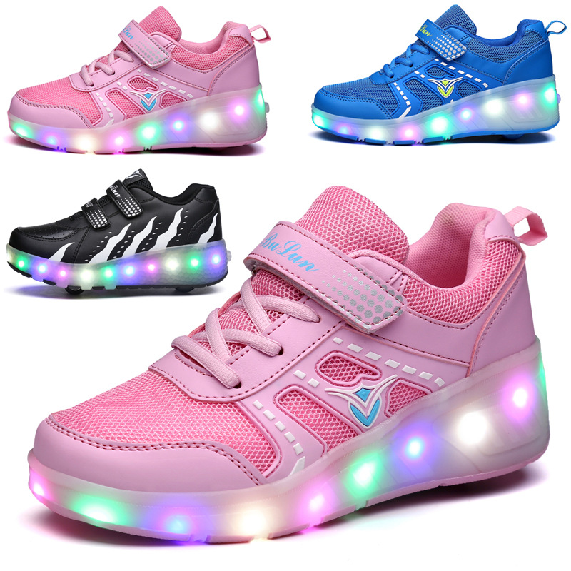 LED Flashing Patines Double/Single Wheels Roller Skate Shoes Colorful Flashing Roller Skates Sneaker For Child Male Female IA108 free shipping roller skates children flashing wheels first wheel flashing ck x502