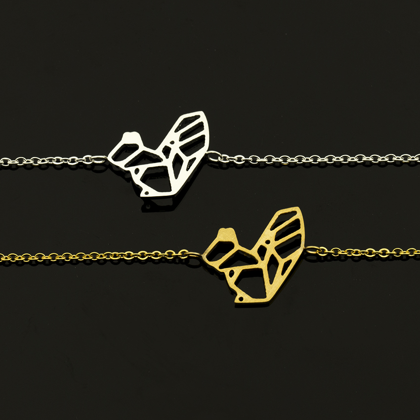 10pcs Fashion Origami Squirrel Bracelet Femme 2018 Stainless Steel For Bridesmaid Jewelry Cute Animal Pulseira Feminina In Charm Bracelets From