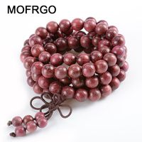 Mofrgo 8 ملليمتر الأرجواني الخشب الخرز التفاف سوار اليدوية مزين عقدة الطبيعية شقرا خشبية bouddha التأمل سوار الرجال المجوهرات