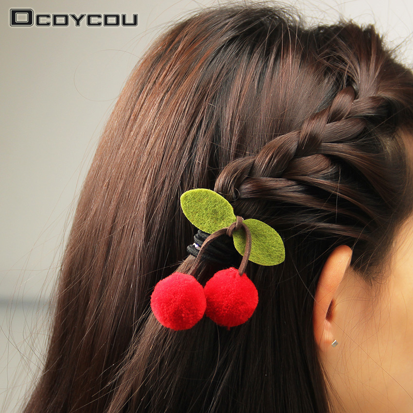 6PCS Sweet Cute Girls Cherry Bow Hairpins Ornaments Headdress Hair Clips New Charm Kids Ball Leaves Barrettes Accessory 24pc hair styling braid hair snap clips for girls headwear hair ornaments black snap hairgrips hairclip barrettes hairpins clips