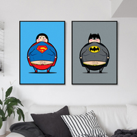 2 Heros Minions Superheros and Batman heros Movie Art Print Poster Kawaii Wall Picture Canvas Painting Kids Room Decor