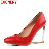 EGONERY Shoes 2017 Summer Genuine Leather Fashion Shoes Woman High Heels Sexy Red White Pumps Women