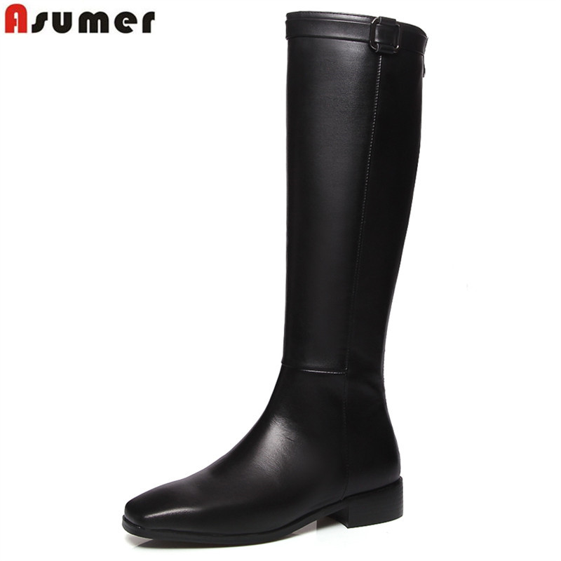 ASUMER Plus size 34-43 New genuine leather boots square toe black winter knee high boots women ladies motorcycle boots shoes 2017 new women boots square toe fashion knee high boots motorcycle sexy thick high heel boots woman shoes black plus size 34 42