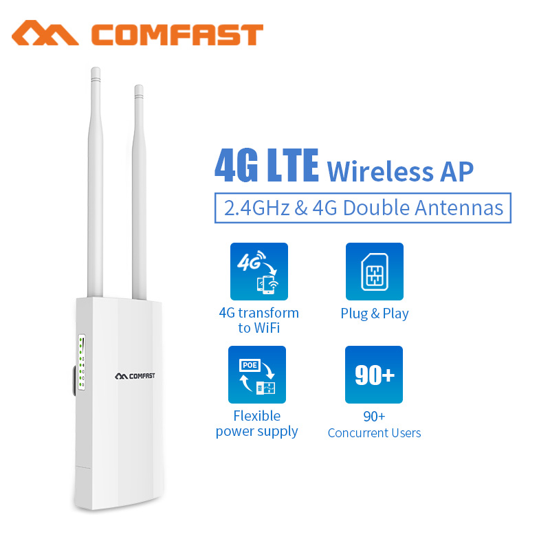 Point d'accès extérieur 4G Lte sans fil AP emplacement pour carte Sim routeur Wifi WAN/Port LAN 4G Lte + 2.4 Ghz couverture WIFI Station de Base AP