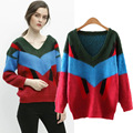 Europe 2016 new winter fashion color female striped sweater collar sweater head loose and long sleeve V