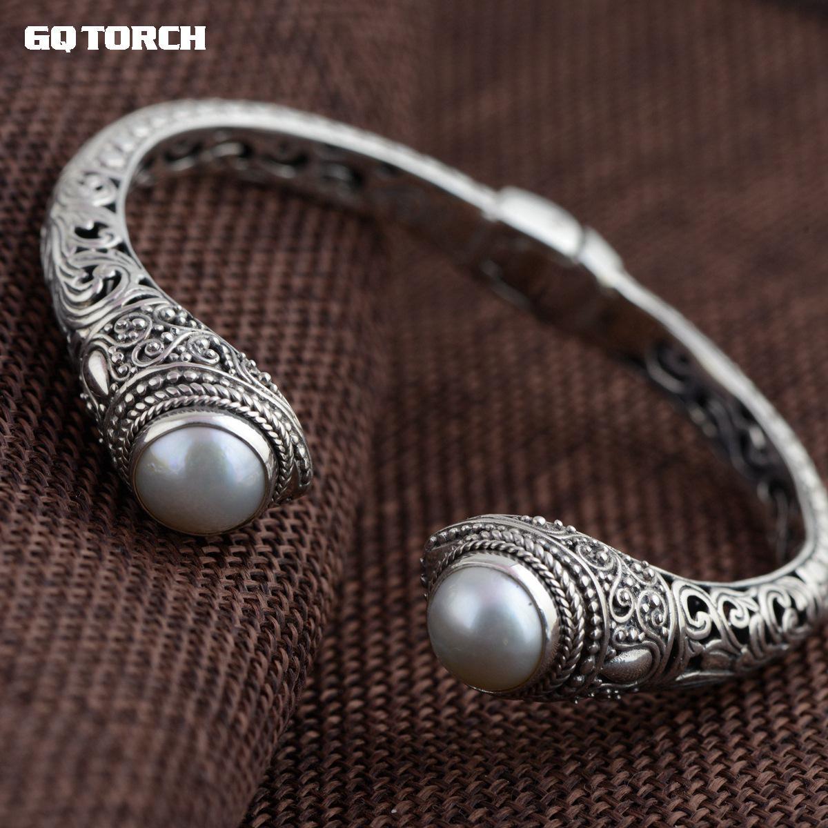 Bransoletki i Bangles autentyczne 925 srebro mankietów bransoletki naturalne perły w stylu Vintage Hollow kwiat rzeźba Armbandjes w Bransoletki i obręcze od Biżuteria i akcesoria na  Grupa 1
