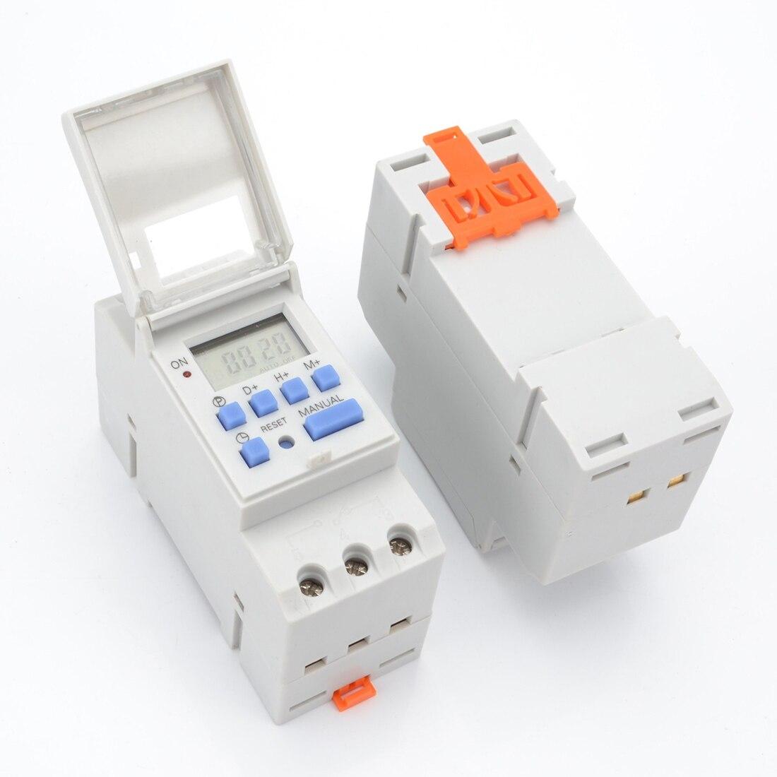 Interruptor Do Temporizador De Energia Digital LCD Timer Programável Interruptor de Tempo AC 220 v/110 v DC 12 v 16A Temporizador trilho Din