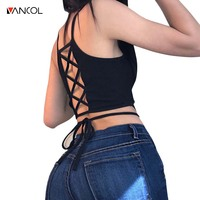 Vancol 2017 Women Knitted Bandage Sexy Hollow Out Bra Tank Top Strappy Backless Girls Camisole Beach
