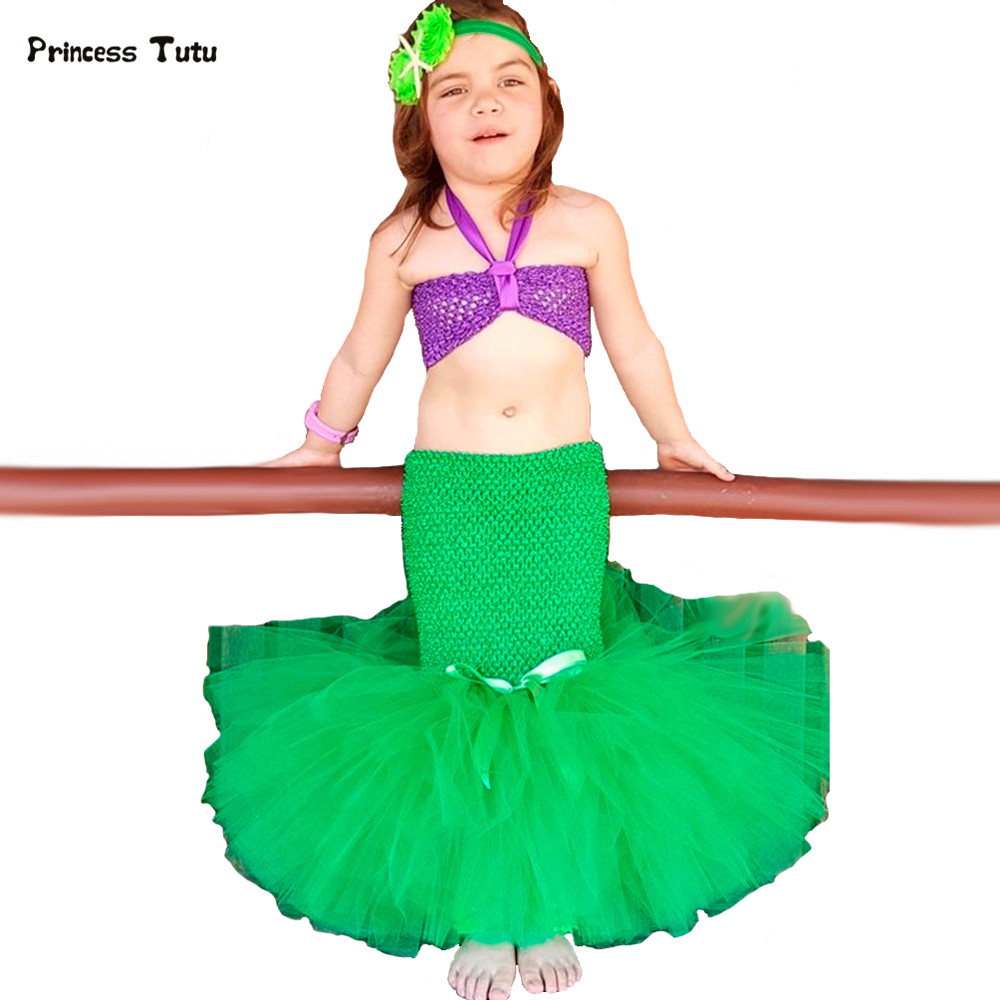 3PCS/1Set Little Mermaid Ariel Princess Dress Cosplay Baby Girls Birthday Party Tutu Dresses Kids Children Halloween Costumes ariel inspired girls tutu dress tulle princess little mermai cosplay tutu dresses for girls kids halloween party costumes 2 12y
