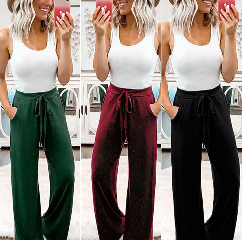 2019 Summer Autumn Fashion Women Solid Color   Wide     Leg     Pants   Casual Ladies Loose High Elastic Palazzo Trousers