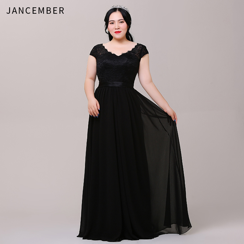 JANCEMBER Plus Size Evening Dresses Cap Sleeve Scalloped Neck Backless Lace Up Back Simple Beach long dresses evening gown New(China)