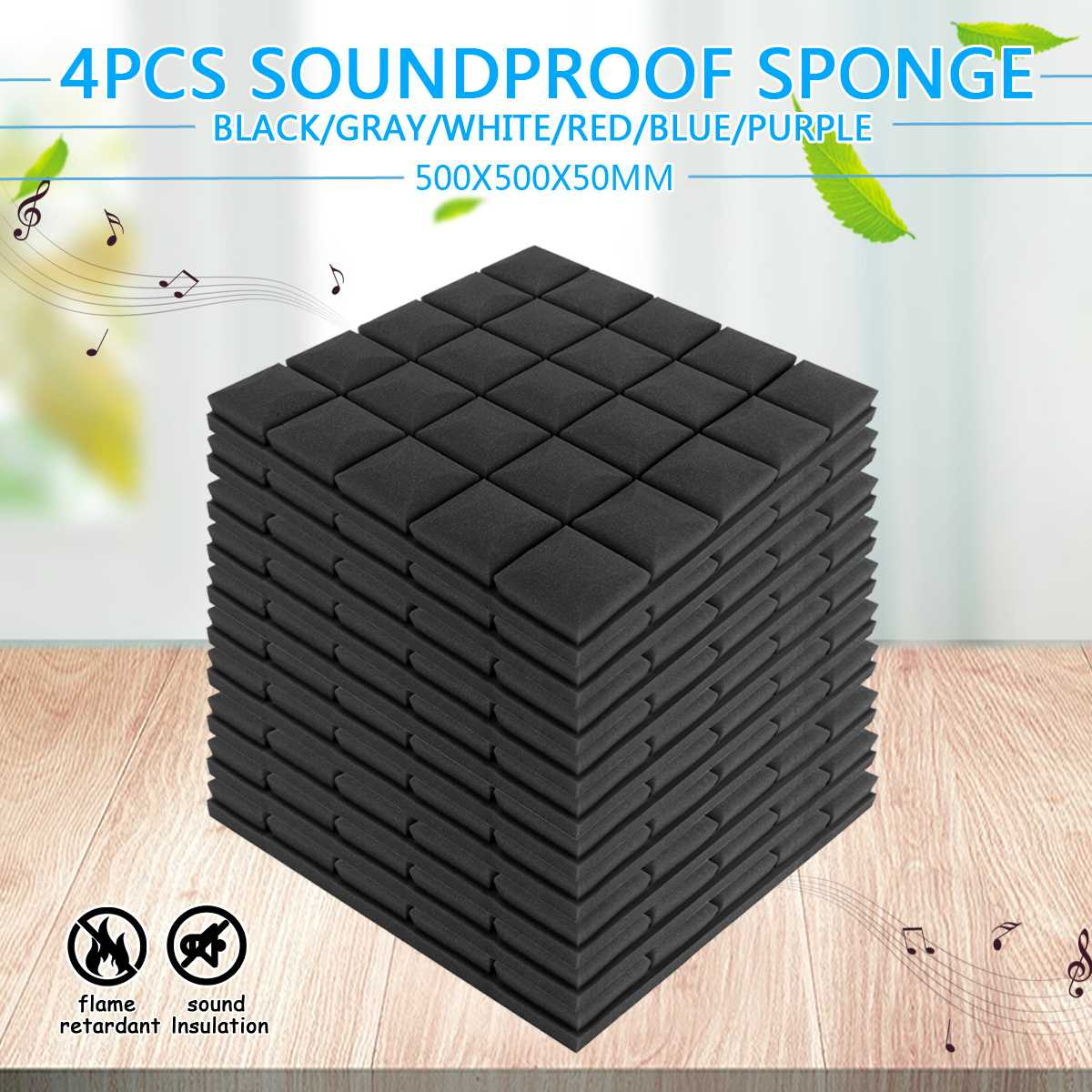 50x50x5cm Soundproof Foam Studio Acoustic Sound Absorption Treatment Panel Tile Wedge Protective Sponge