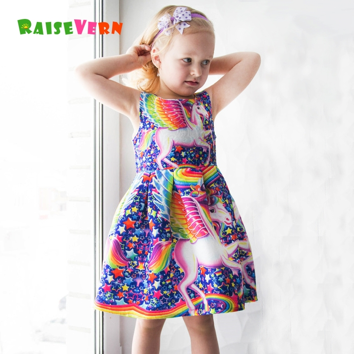 2018 Girl Rainbow Unicorn Print Dress Kid Princess Floral Dress Cute Unicornio Children Licorne Pattern Birthday Party Clothes все цены
