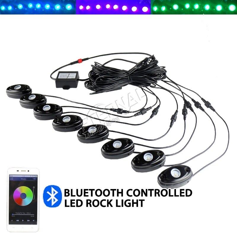 бесплатная доставка 8шт/комплект 9 Вт RGB светодиодов рок свет для ATV внедорожник utv РЗВ внедорожный вертолет лодка автомобиль мотоцикл снегоход гидроцикл