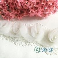 Neue Spitze 1 Yard Weiß rose chiffon blume perle spitze stoff bowknot zubehör spitzenbesatz kopfschmuck A2