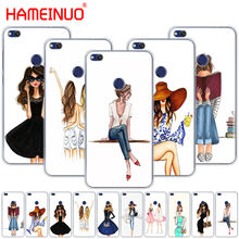 HAMEINUO Beautiful Love Dress Shopping Girl Cover phone Case for huawei Ascend P7 P8 P9 P10 P20 lite plus pro G9 G8 G7 2017(China)