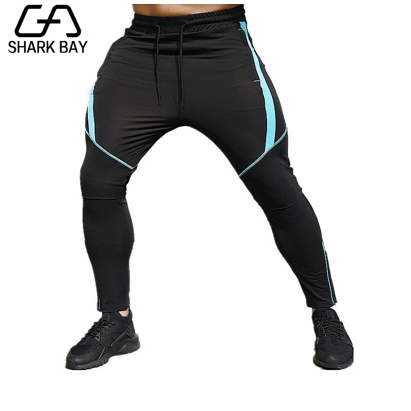 Shark Bay Brand Gyms Men Pants Compress Gymming Leggings Men Fitness Workout Summer Sporting Fitness Male Breathable Long Pants