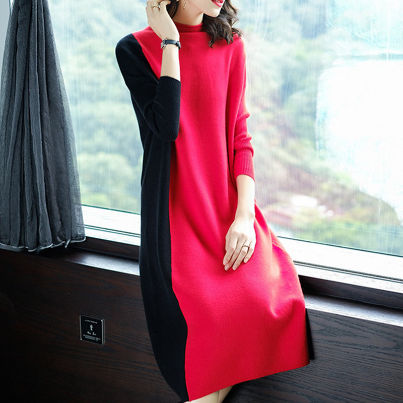 Europe Women 2019 Autumn Winter Stitching Fashion Long Sleeve Dress Female Half Turtleneck Knee-Length Knitted Dress A1139