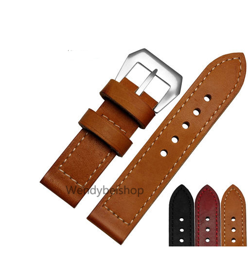 24 26mm Wholesale Men Women Black Yellow Red Watch Band Genuine Leather Handmade Thick VINTAGE Band Strap Belt Brushed Buckle eache silicone watch band strap replacement watch band can fit for swatch 17mm 19mm men women