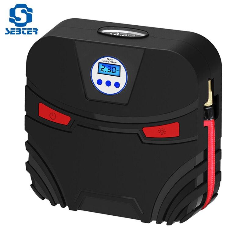 SEBTER Auto Aufblasbare Pumpe 12 v Elektronische Display Reifen Inflator Autos Luft Kompressor Pumpe LED Für Auto Boot Bett Zubehör