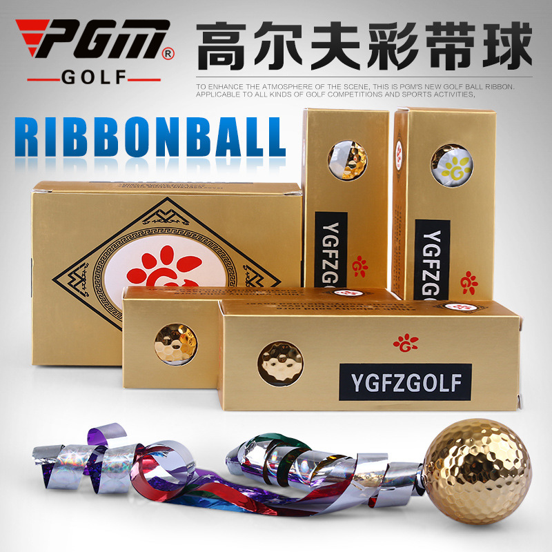 PGM Brand Golf Ball 3 Layers Surlyn Coloured Ribbon Gold The Kick Off Ceremony Gift Open With Pattern 3 balls / box