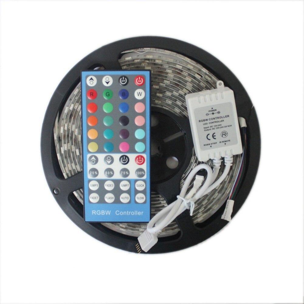 5M RGBW 5050 LED strip Light Waterproof/Non DC12V SMD 60Leds/M 300 LEDS Flexible Led Tape RGB + White/Warm white free shipping