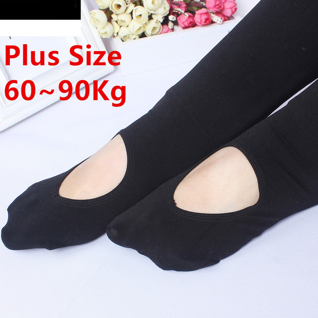 Spring Autumn Hot Sale Plus Size Fat MM Solid Black Slim Figure-Flattering Super Soft and Warm Women Tights