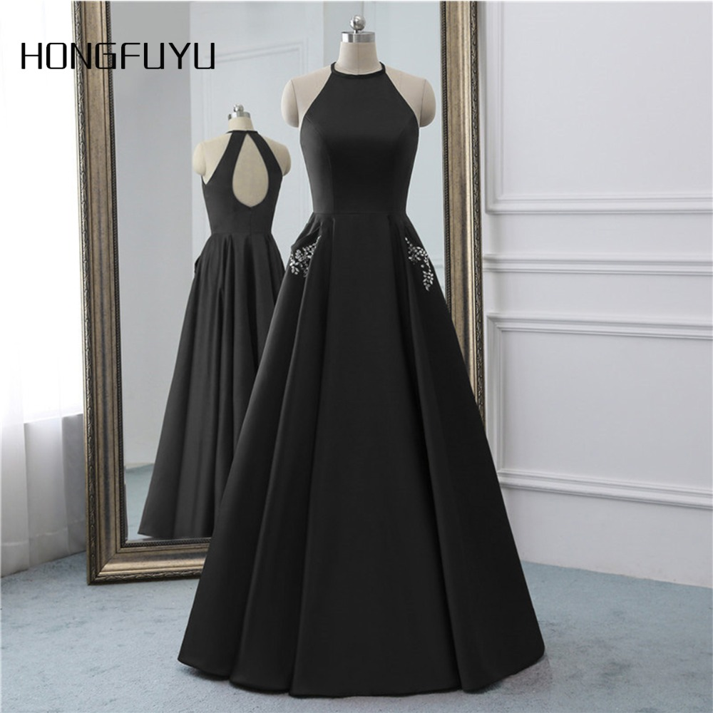 Simple Stain O Neck jupon Marriage Open Back Pocket Long Evening Dresses 2019 Sleeveless Floor Length Evening Dress HFY101903