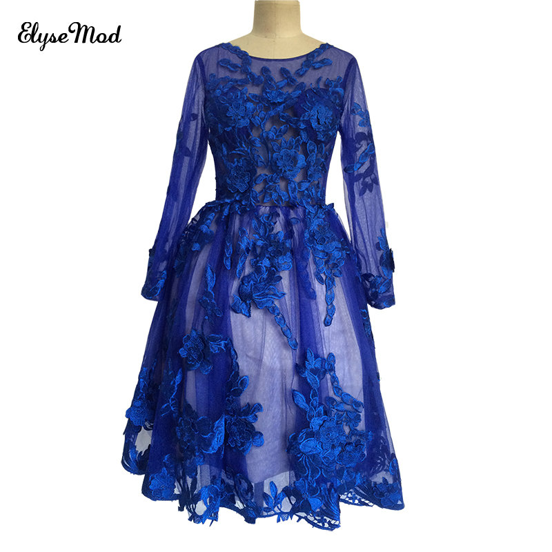 Real Photo Sexy Scoop neck Royal Blue A-line Short Long Sleeves   Cocktail     Dress   2018 Luxury Appliques Appliques Homecoming   Dress