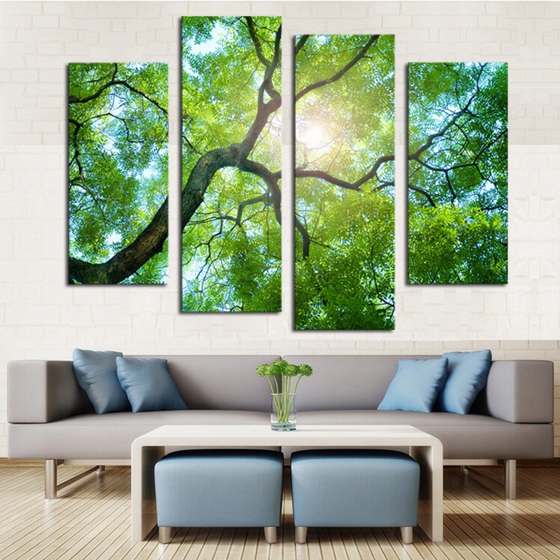 4 panels no frame green tree painting canvas wall art picture home rh aliexpress com wall painting frames for living room wall picture frames for living room india