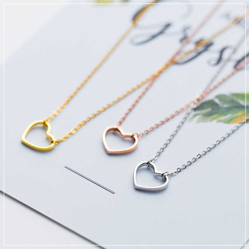Colusiwei Genuine 925 Sterling Silver Simple Minimalist 3 Color Heart Choker Pendant Necklace for Women Chain Link Jewelry Gifts