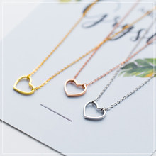 Colusiwei Genuine 925 Sterling Silver Simple Minimalist 3 Color Heart Choker Pendant Necklace for Women Chain Link Jewelry Gifts(China)