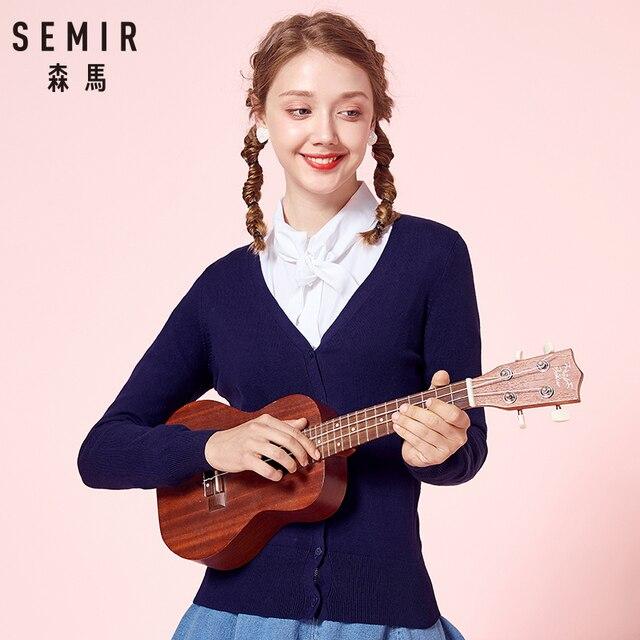 SEMIR Dệt Kim áo len Cardigan Nữ 2019 Mùa Xuân Rắn Đơn Giản Thẳng Dưới Quần Áo Áo Len Cardigan Thời Trang cho Nữ