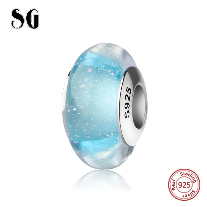 SG sparkling Murano glass beads light blue color charms silver 925 fit original pandora charm bracelets fashion jewelry making