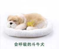 Pitbull Bull Dog Pampered Petz Pet Mate Breathing Dog Cute Toy Sleeping Pet Emulational Mini Vivid
