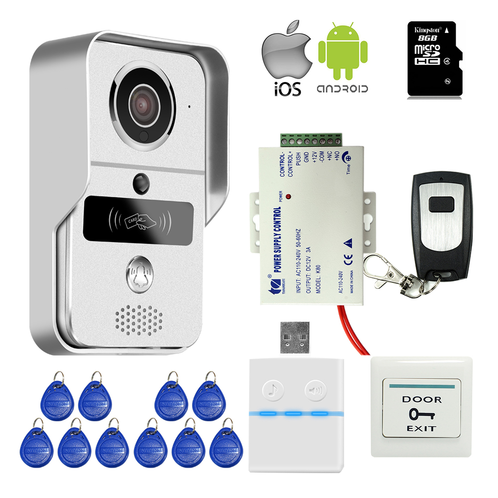 Free Shipping Wifi LAN 720P IP Doorbell Intercom Camera RFID Access Video Door Phone for Phone Remote View Unlock + Power Supply jcsmarts rfid access wireless wifi ip doorbell camera video intercom for android ios smartphone remote view unlock with sd card