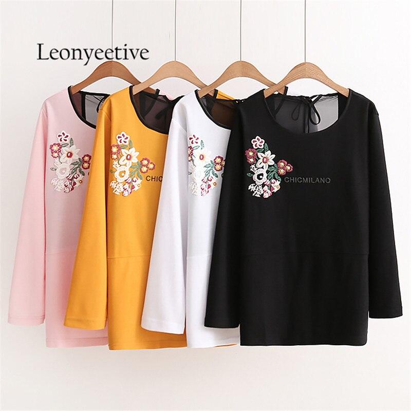 oversize Floral 2017 new autumn big size font b Women b font font b Shirt b