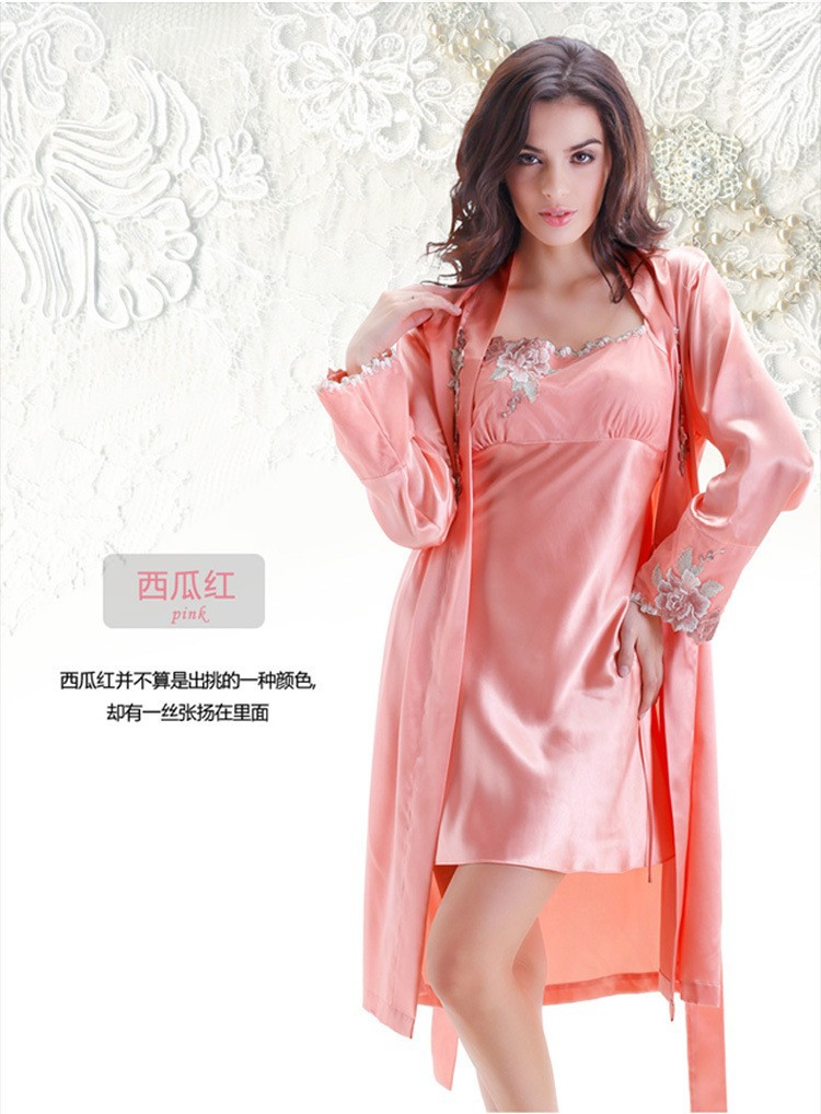 Pink Silk Robes and Nightgowns Two Piece Sets for Women