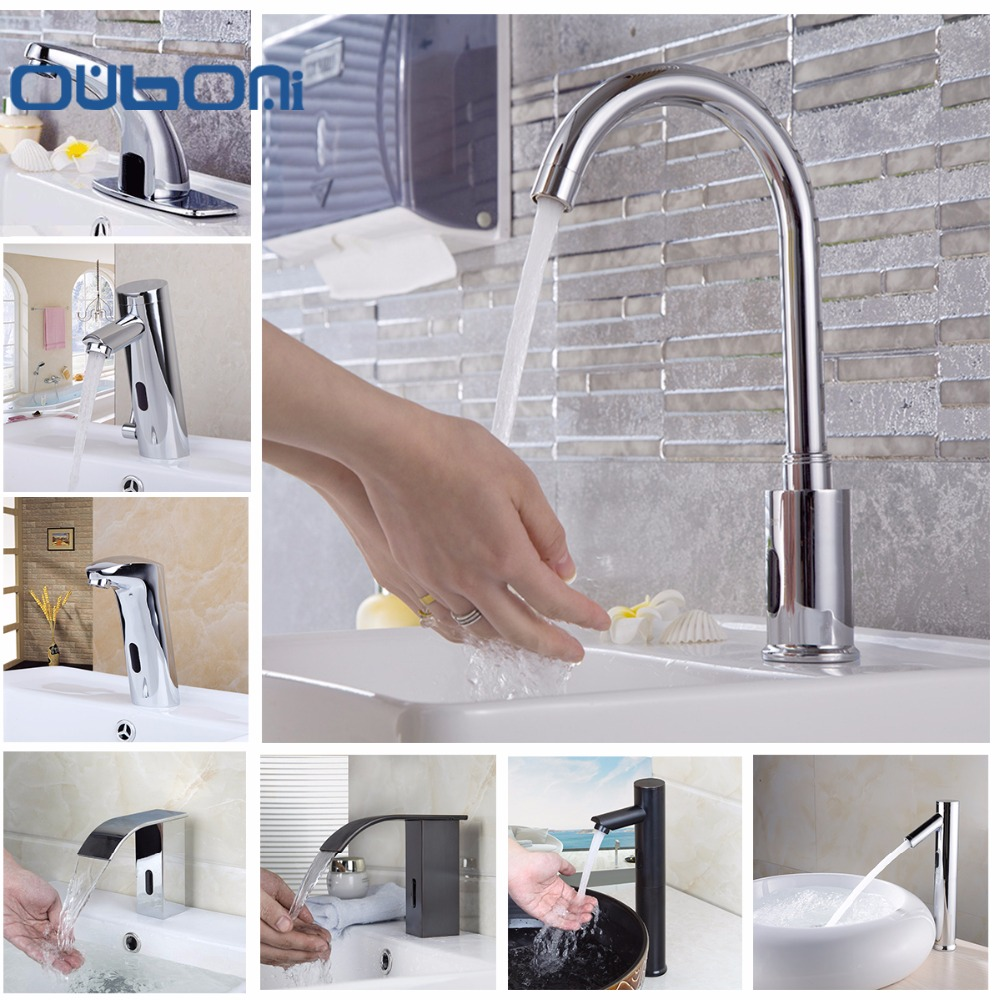 ouboni basin faucet torneira automatic hands touch sensor faucets bathroom brass sink chrome faucets mixers u0026