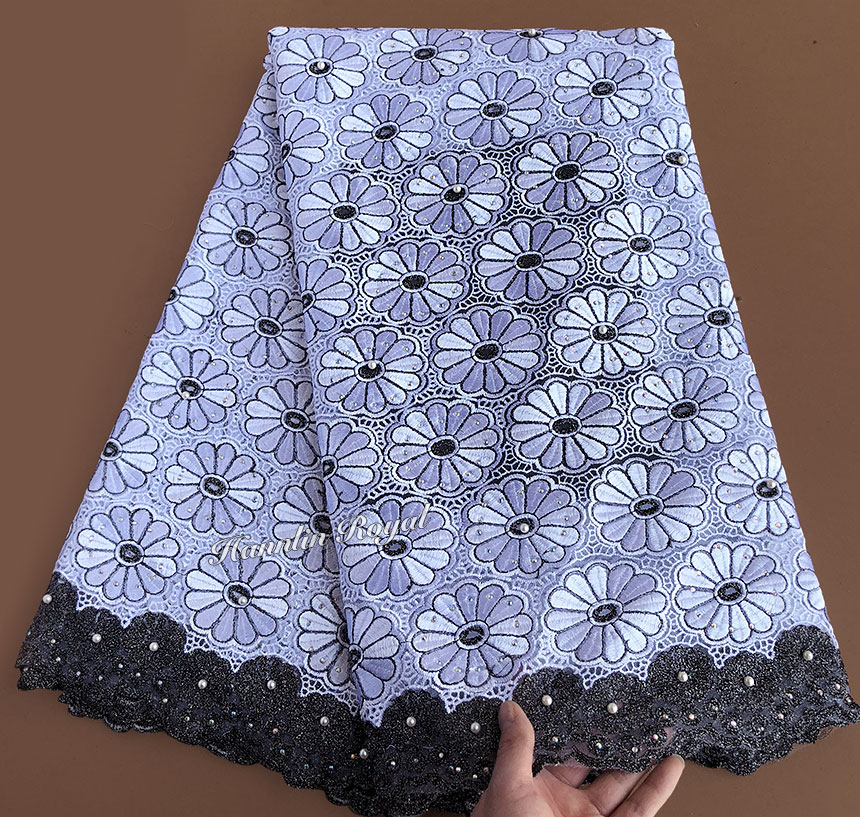 5 yards White Black beautiful African tulle lace french fabric Nigerian sewing lace dress high quality