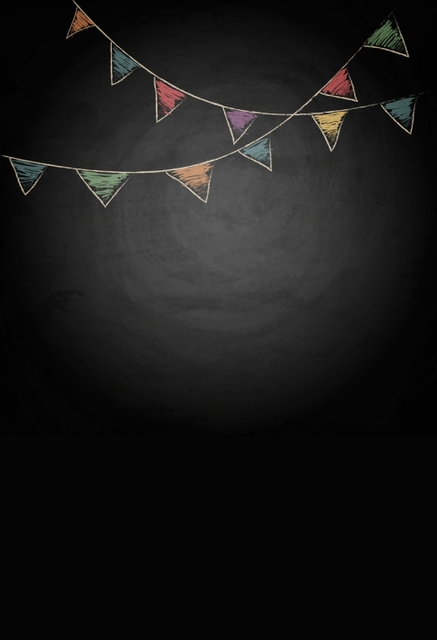 HUAYI 5x7ft Chalkboard Background With Drawing Bunting Flags Vector Texture Photography Newborn Backdrop XT4304
