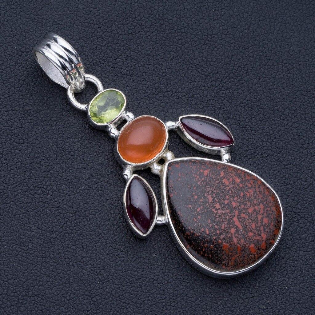 Calcédoine de roche teinte naturelle, améthyste, cornaline péridot Style Punk 925 pendentif en argent 2 1/4