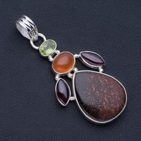 Natural Dyed Rock Chalcedony,Amethyst,Carnelian Peridot Punk Style 925 Silver Pendant 2 1/4 P0898
