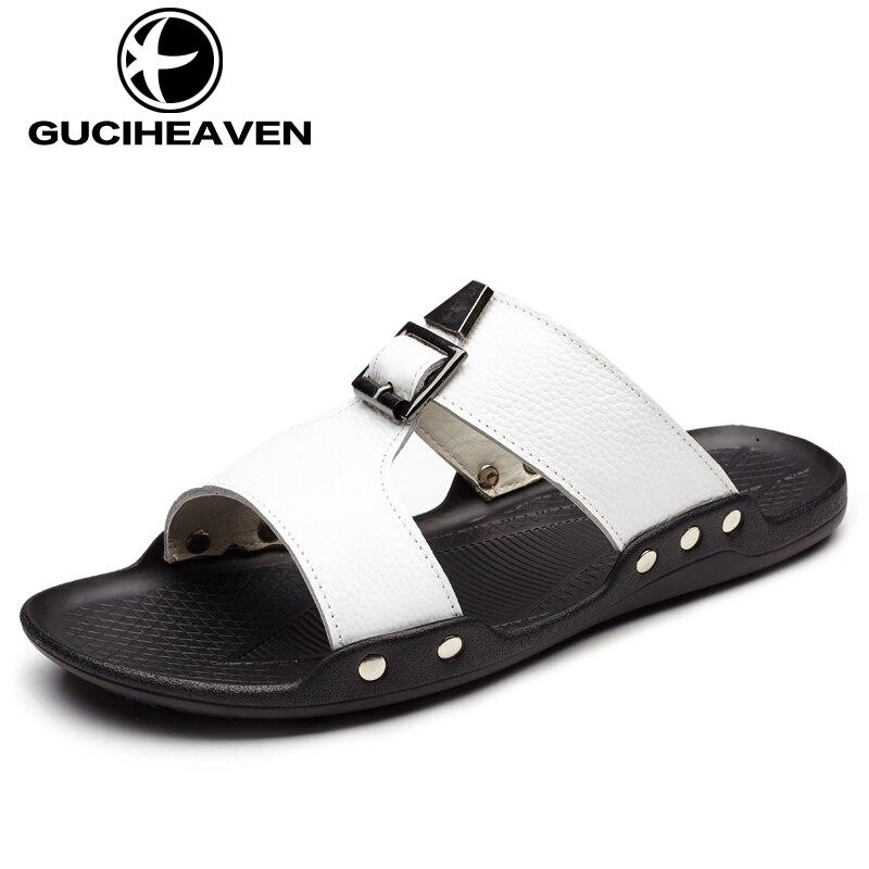 2017 Summer Mens Slippers Outdoor Fashion Shoes Men Sandals Cow Leather Beach Men Slides Slippers Black White Pantoufle Homme 14