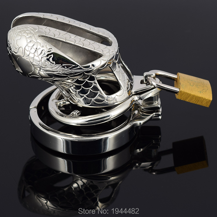 SODANDY Small Chastity Device Stainless Steel Cock Cage Metal Male Chastity Belt Penis Ring Bondage Sex Toys Dragon Totem Lock 4