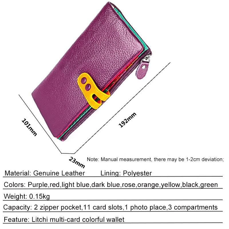 Image 5 - 女性本革財布カラフルな女性ロングリアルレザークラッチ財布女性ジッパー電話コイン財布札入れ女性のバッグ財布   -