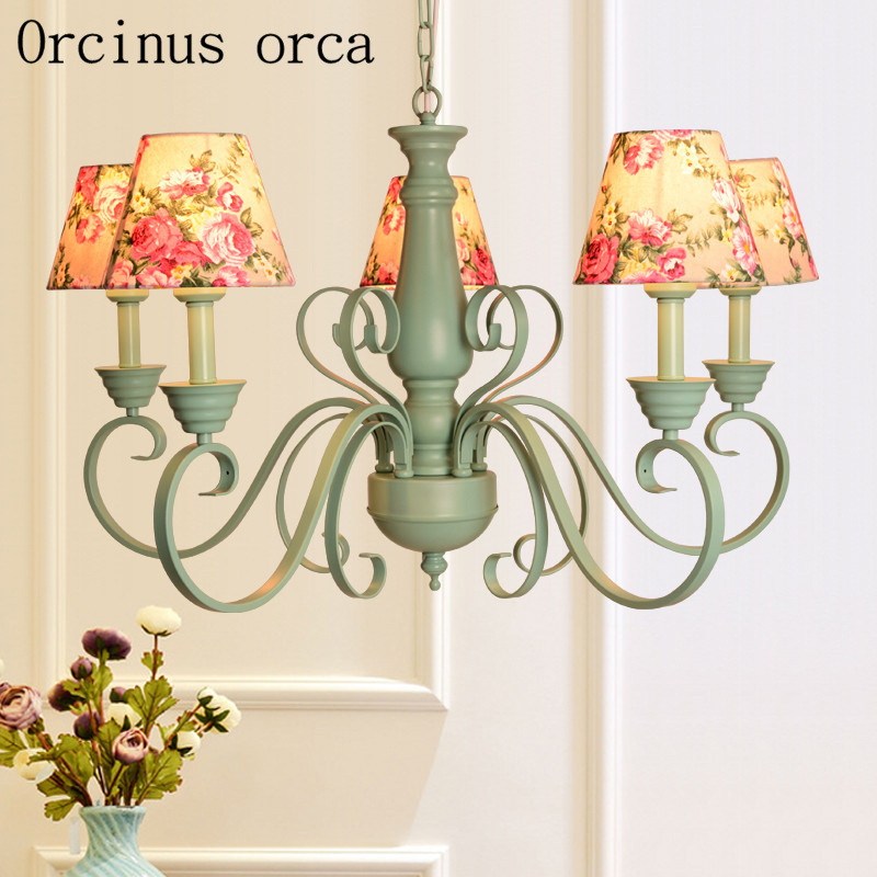 American Country Green Chandelier Living Room Bedroom French Garden Simple Fashion Iron Chandelier Free Shipping