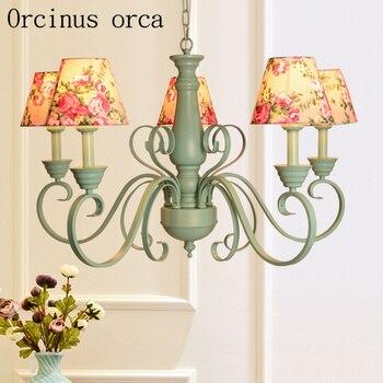 Candelabro verde americano sala de estar dormitorio jardín francés simple de moda araña de hierro envío gratis