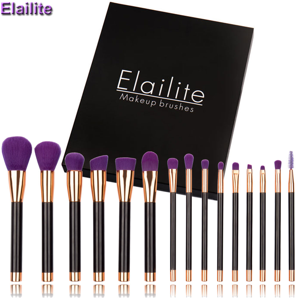 Elailte make up brushes 8pcs brush set professional Nature bristle brushes beauty essentials makeup brushes with box top quality nature explorer box set